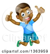 Clipart Of A Cartoon Happy Excited Black Boy Jumping And Giving Two Thumbs Up Royalty Free Vector Illustration by AtStockIllustration