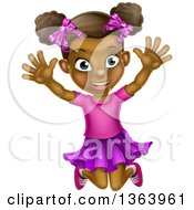 Clipart Of A Cartoon Happy Excited Black Girl Jumping Royalty Free Vector Illustration