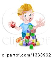 Clipart Of A Cartoon Happy White Boy Playing With Toy Blocks Royalty Free Vector Illustration by AtStockIllustration