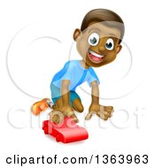 Clipart Of A Cartoon Happy Black Boy Playing With A Toy Car Royalty Free Vector Illustration by AtStockIllustration