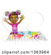 Clipart Of A Cartoon Happy Black Girl Making Hand Prints With Paint Kneeling And Holding Up Her Hands Royalty Free Vector Illustration by AtStockIllustration