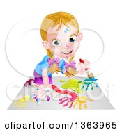 Clipart Of A Cartoon Happy White Girl Kneeling And Painting Artwork Royalty Free Vector Illustration