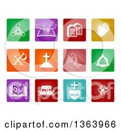 Clipart Of White Christian Icons On Colorful Square Tiles Royalty Free Vector Illustration by AtStockIllustration