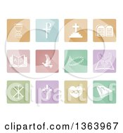 White Christian Icons On Colorful Pastel Square Tiles