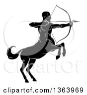 Clipart Of A Black And White Centaur Archer Half Man Half Horse Aiming To The Right Royalty Free Vector Illustration