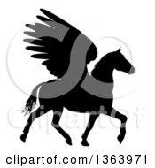 Clipart Of A Black Silhouette Of A Trotting Winged Pegasus Horse Royalty Free Vector Illustration by AtStockIllustration