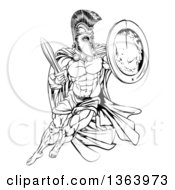 Clipart Of A Black And White Strong Spartan Trojan Warrior Mascot With A Cape Running With A Sword And Shield Royalty Free Vector Illustration