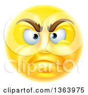 Clipart Of A 3d Disapproving Yellow Male Smiley Emoji Emoticon Face Royalty Free Vector Illustration