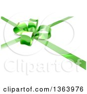 3d Green Christmas Birthday Or Other Holiday Gift Bow And Ribbon On White