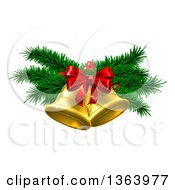 Clipart Of 3d Gold Christmas Bells With Branches And Bow Royalty Free Vector Illustration by AtStockIllustration