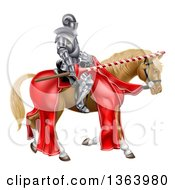 Clipart Of A 3d Fully Armored Jousting Knight Holding A Lance On A Brown Horse Royalty Free Vector Illustration by AtStockIllustration
