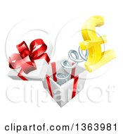 Clipart Of A 3d Golden Pound Currency Symbol Popping Out Of A Gift Box Royalty Free Vector Illustration by AtStockIllustration