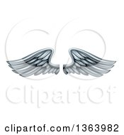 Clipart Of A Pair Of 3d Silver Metal Wings Royalty Free Vector Illustration