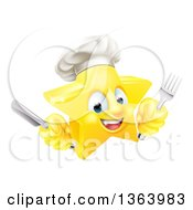 Clipart Of A 3d Happy Golden Chef Star Emoji Emoticon Character Holding Cutlery Royalty Free Vector Illustration by AtStockIllustration
