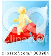 Poster, Art Print Of 3d Successful Gold Man Walking On A Red Arrow Over Graphs On Blue