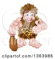 Cartoon Muscular Happy Caveman Standing With A Club And Giving A Thumb Up