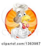 Poster, Art Print Of Happy White And Brown Chef Chicken Giving A Thumb Up And Emerging From A Circle Of Sun Rays 2