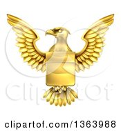 Clipart Of A Golden Heraldic Coat Of Arms Eagle With A Shield Royalty Free Vector Illustration by AtStockIllustration