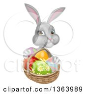 Clipart Of A Happy Gray Bunny With Easter Eggs And A Basket Royalty Free Vector Illustration by AtStockIllustration