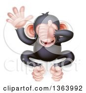 Clipart Of A Cartoon Black And Tan See No Evil Wise Monkey Covering His Eyes Royalty Free Vector Illustration by AtStockIllustration