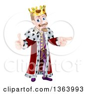Clipart Of A Happy Brunette Caucasian King Giving A Thumb Up And Pointing To The Right Royalty Free Vector Illustration by AtStockIllustration