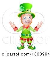 Clipart Of A Cartoon Friendly St Patricks Day Leprechaun Welcoming Royalty Free Vector Illustration by AtStockIllustration
