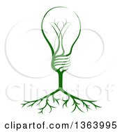 Clipart Of A Green Electric Light Bulb Tree And Roots Royalty Free Vector Illustration