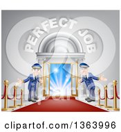 Clipart Of Welcoming Door Men At An Entry With A Red Carpet And Posts Under Perfect Job Text Royalty Free Vector Illustration by AtStockIllustration