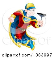 Clipart Of A Young Super Hero Brunette White Male Window Cleaner Running With A Squeegee Royalty Free Vector Illustration by AtStockIllustration
