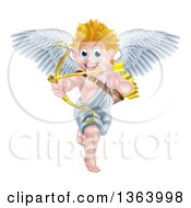 Clipart Of A Happy Blond Caucasian Valentines Day Cupid Aiming An Arrow Royalty Free Vector Illustration