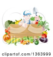 Clipart Of A Young Brunette White Male Gardener In Blue Holding Up A Garden Spade And Giving A Thumb Up Over A Blank Wood Sign With Produce Royalty Free Vector Illustration by AtStockIllustration