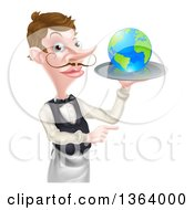 Cartoon Caucasian Male Waiter With A Curling Mustache Holding Earth On A Tray And Pointing