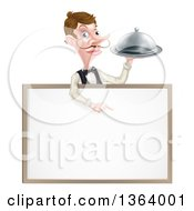 Cartoon Caucasian Male Waiter With A Curling Mustache Holding A Cloche Platter Over A Blank White Menu Sign