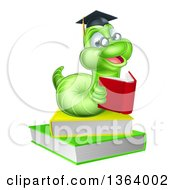 Clipart Of A Happy Bespectacled Green Professor Or Graduate Earthworm Reading On Books Royalty Free Vector Illustration