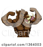 Clipart Of A Tough Razorback Boar Man Flexing His Bicep Muscles From The Waist Up Royalty Free Vector Illustration by AtStockIllustration
