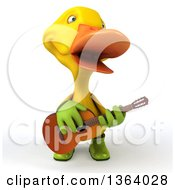 3d Yellow Gardener Duck Singing And Playing A Guitar On A White Background