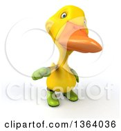 Clipart Of A 3d Yellow Gardener Duck Pointing Outwards On A White Background Royalty Free Illustration