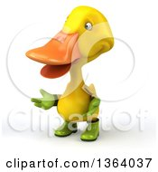 Clipart Of A 3d Yellow Gardener Duck Presenting On A White Background Royalty Free Illustration