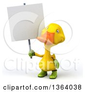 Clipart Of A 3d Yellow Gardener Duck Holding A Blank Sign On A White Background Royalty Free Illustration