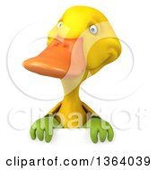 Clipart Of A 3d Yellow Gardener Duck Over A Sign On A White Background Royalty Free Illustration