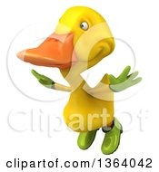 Clipart Of A 3d Yellow Gardener Duck Flying On A White Background Royalty Free Illustration