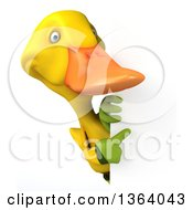 Clipart Of A 3d Yellow Gardener Duck Pointing Around A Sign On A White Background Royalty Free Illustration
