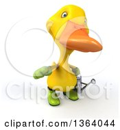 Clipart Of A 3d Yellow Gardener Duck Holding A Watering Can And Pointing Outwards On A White Background Royalty Free Illustration