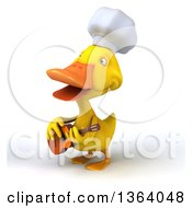 3d Yellow Chef Duck Singing And Playing A Guitar On A White Background