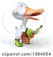 Clipart Of A 3d White Gardener Duck Singing And Playing A Guitar On A White Background Royalty Free Illustration