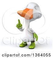 Clipart Of A 3d White Gardener Duck Holding Up A Finger On A White Background Royalty Free Illustration
