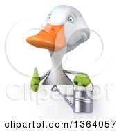 Clipart Of A 3d White Gardener Duck Holding A Watering Can And Giving A Thumb Up Over A Sign On A White Background Royalty Free Illustration