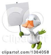 Clipart Of A 3d White Gardener Duck Flying With A Blank Sign On A White Background Royalty Free Illustration