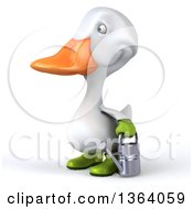 Clipart Of A 3d White Gardener Duck Holding A Watering Can On A White Background Royalty Free Illustration