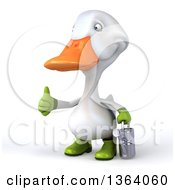 Clipart Of A 3d White Gardener Duck Holding A Watering Can And Giving A Thumb Up On A White Background Royalty Free Illustration